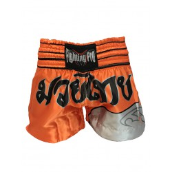 Short de boxe thaï Orange / Gris