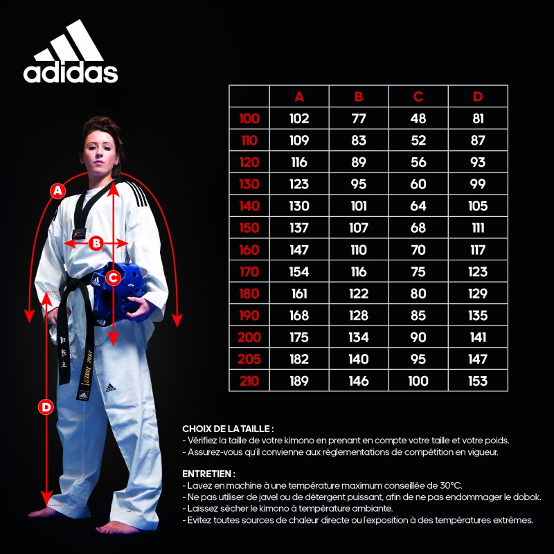 guide taille dobok adidas